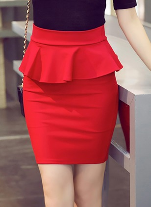 Acrylic Solid Above Knee Elegant Ruffles Skirts