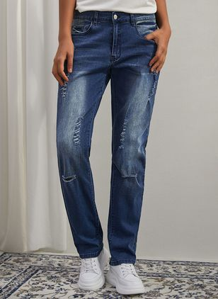 Casual Skinny Buttons Pockets Mid Waist Denim Jeans (146650475)