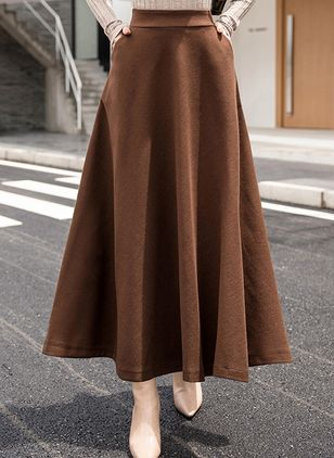 Solid Maxi Casual Pockets Skirts (106821401)