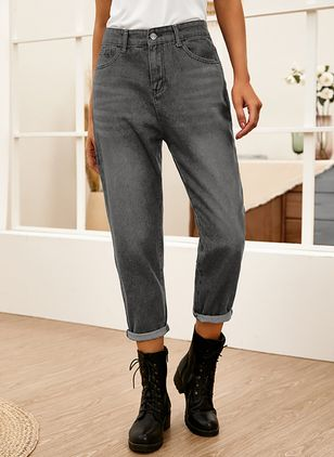 Casual Straight Pockets Mid Waist Denim Jeans (146775415)
