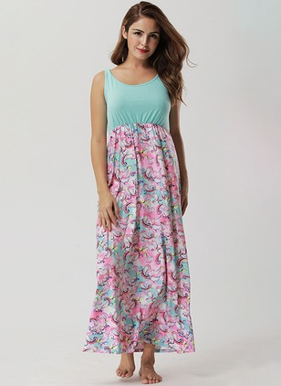 Floral Skater Sleeveless Maxi A-line Dress