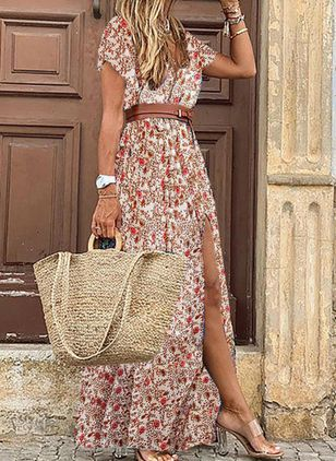 Casual Floral V-Neckline Maxi X-line Dress (101986529)