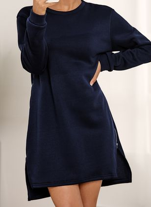 Casual Solid Sweater Round Neckline Shift Dress (146966855)