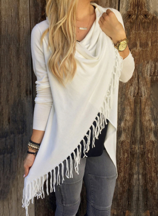 Cotton Solid Draped Neckline Long Sleeve Casual T-shirts & Vests