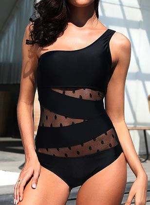 Oblique Neckline Solid Dot One-piece Swimwear