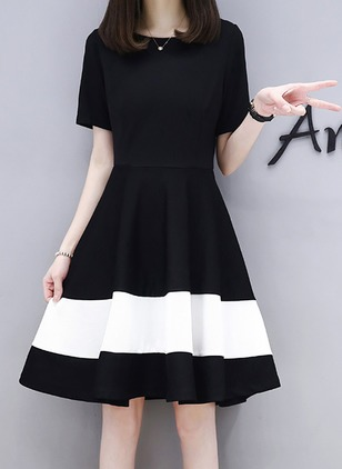 Color Block Short Sleeve Above Knee A-line Dress