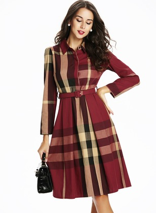 Shirt Long Sleeve Midi A-line Dress