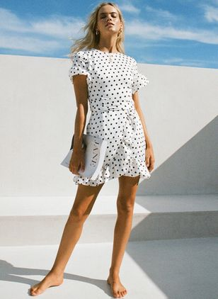 Polka Dot Short Sleeve Above Knee X-line Dress