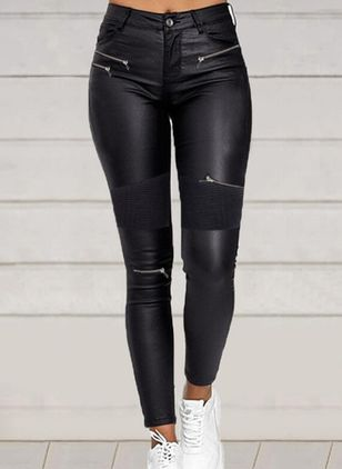 Casual Skinny Zipper High Waist Polyester Leggings (146885475)
