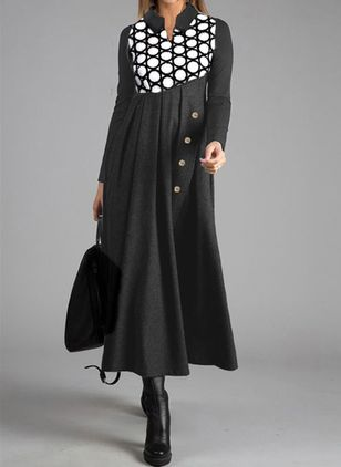 Casual Polka Dot Tunic Round Neckline A-line Dress (107520235)