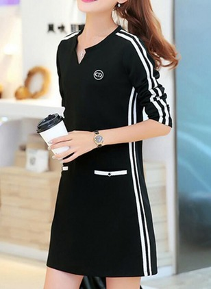 Cotton Blends Solid Long Sleeve Above Knee Dresses