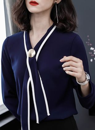 Color Block Elegant V-Neckline Long Sleeve Blouses