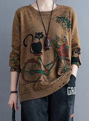 Round Neckline Animal Casual Loose Regular Shift Sweaters (120648901)