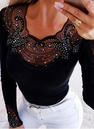 Round Neckline Solid Casual Loose Tight Rhinestones Sweaters (146956475)
