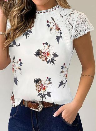 Floral Round Neck Short Sleeve Elegant T-shirts (146901491)