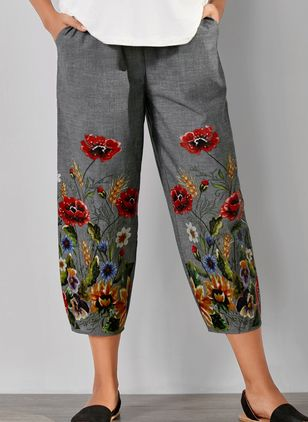 Casual Loose Pockets Mid Waist Polyester Pants (4864675)