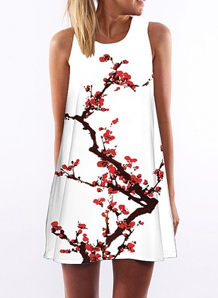 Cotton Floral Tank Sleeveless Shift Dress