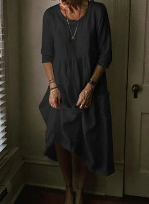 Casual Solid Tunic Round Neckline Shift Dress (4047468)