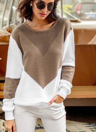 Round Neckline Color Block Loose Shift Sweaters (1347961)