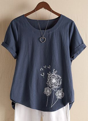 Floral Round Neck Short Sleeve Casual T-shirts (1506932)