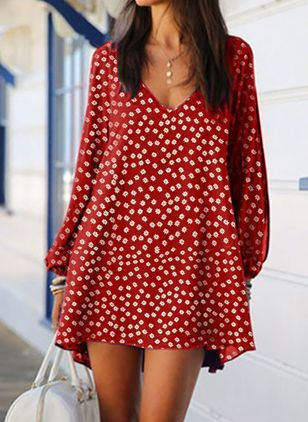 Casual Floral Tunic V-Neckline Shift Dress (107520189)
