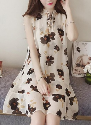 Cotton Floral Sleeveless Above Knee Dresses
