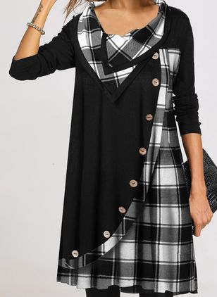 Casual Plaid Tunic Draped Neckline Shift Dress (112602066)