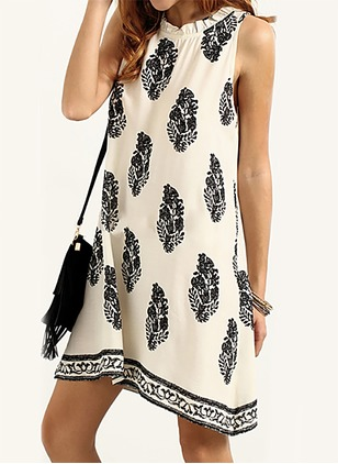 Cotton Polka Dot Sleeveless Above Knee Casual Dresses