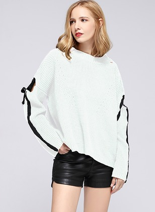 Cotton Round Neckline Solid Casual Loose Sweaters