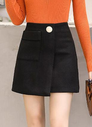 Solid Above Knee Casual Pockets Skirts