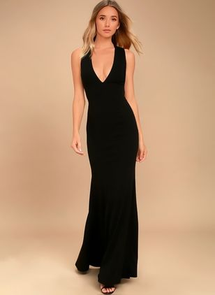 Solid Pencil Sleeveless Maxi Sheath Dress