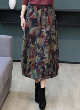 Color Block Mid-Calf Casual Skirts (106154335)