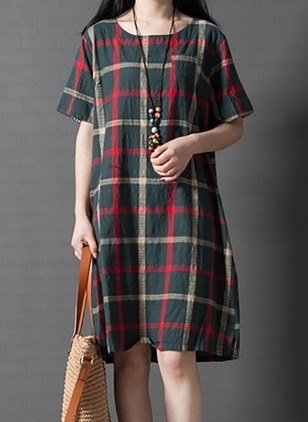 Linen Plaid Short Sleeve Above Knee Dresses