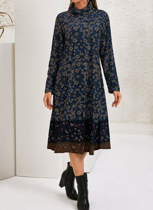 Casual Floral Tunic High Neckline Shift Dress (122029259)