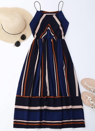 Color Block Slip Sleeveless Midi A-line Dress
