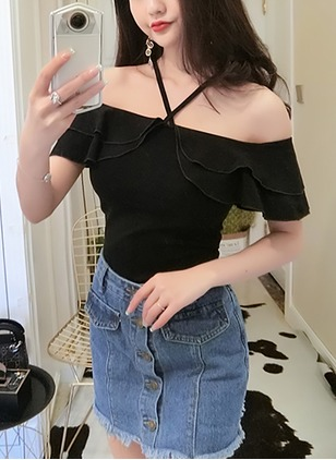 Solid Camisole Neckline Short Sleeve Casual T-shirts