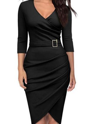 Casual Solid Pencil V-Neckline Sheath Dress (146654856)