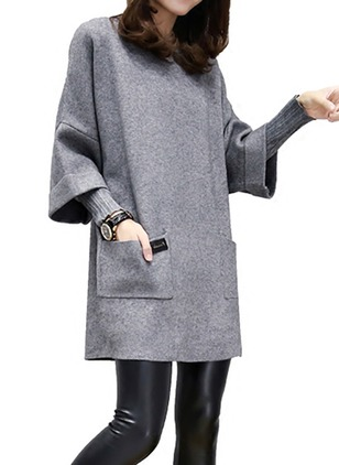 Solid Pockets Long Sleeve Mini Shift Dress