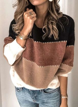 Round Neckline Color Block Casual Loose Regular Shift Sweaters (100037922)