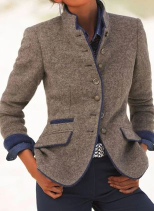 Long Sleeve Stand Collar Buttons Pockets Blazers Coats (104146801)
