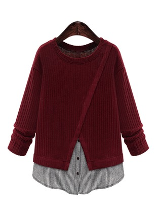 Polyester Round Neckline Color Block Sweaters
