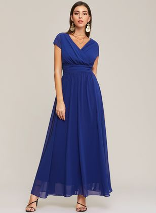Solid Ruffles V-Neckline Maxi A-line Dress (1398809)