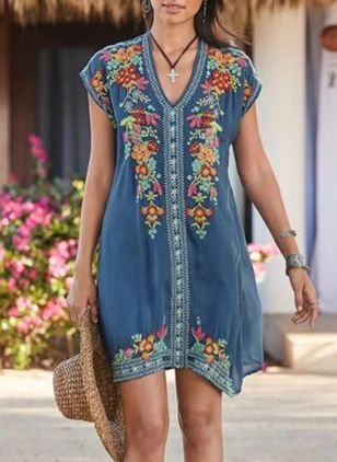 Casual Floral Tunic V-Neckline Shift Dress (4265334)