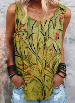 Floral Round Neck Sleeveless Casual T-shirts (147209969)