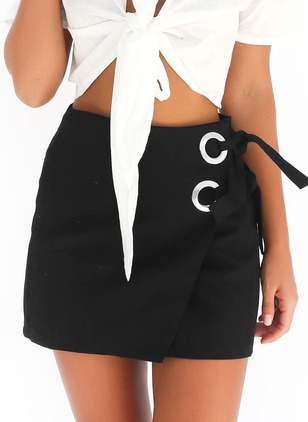 Polyester Above Knee Casual White Black Skirts