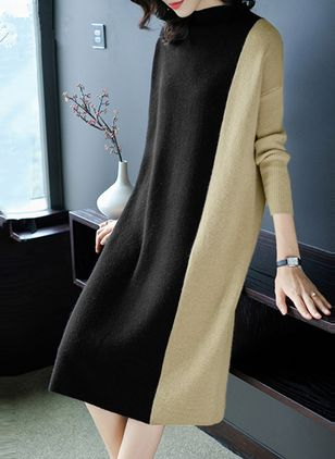 Color Block Long Sleeve Midi Shift Dress