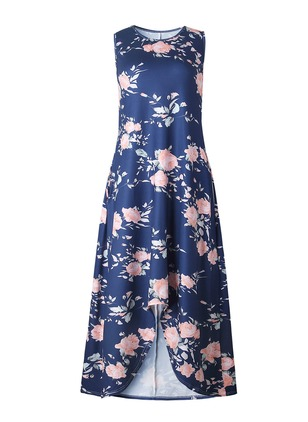 Polyester Floral Sleeveless Maxi Dresses