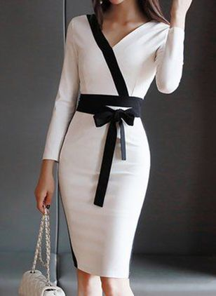 Elegant Color Block Pencil V-Neckline Bodycon Dress (146931972)