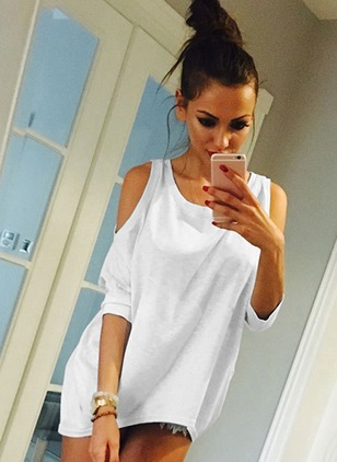Solid Tshirt Square Neckline Half Sleeve Shift Dress