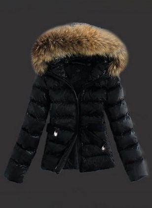 Long Sleeve Hooded Sashes Zipper Unremovable Fur Collar Padded Coats (1509460)